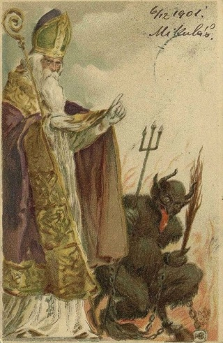 Krampus aside Saint Mikulas